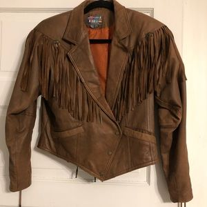 Vintage Paris Sport Club Leather Fringe Jacket - M